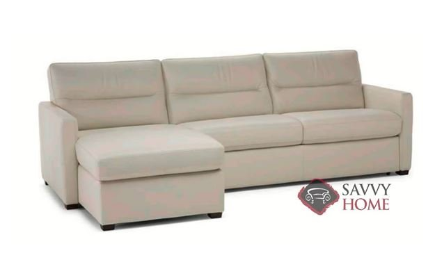 Conca Chaise Sectional Leather Sleeper Sofa by Natuzzi Editions in Denver Rose Beige