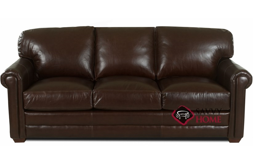 Cidy Leather Sofa By Klaussner With Down Blend Cushion Option