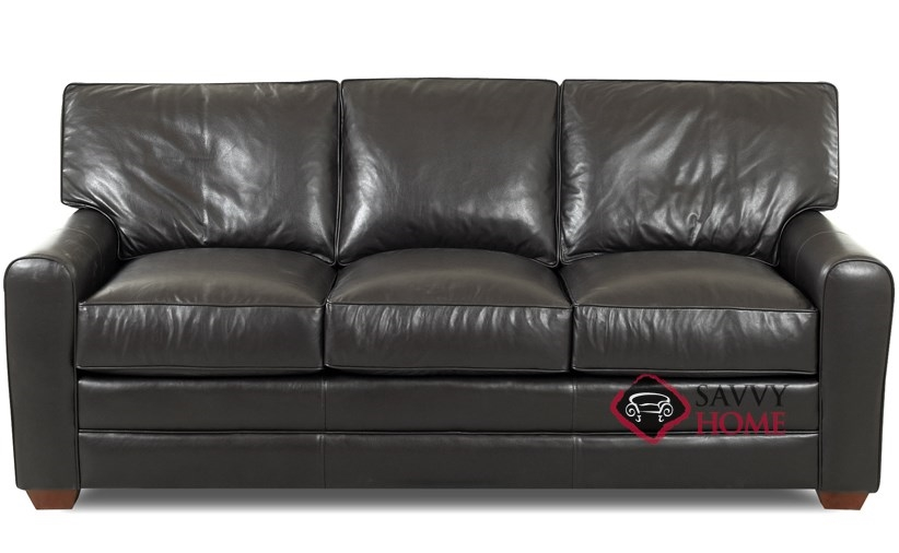 Halifax Leather Stationary Sofa By Savvy Is Fully