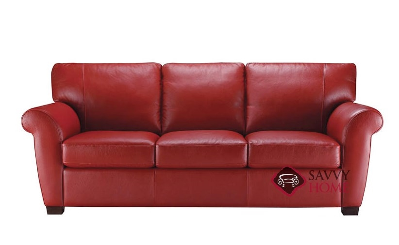A121 Natuzzi Leather Sofa Shown In Belfast Red