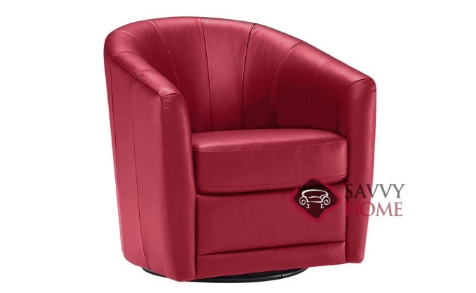 Mazaro B596 Leather Stationary Swivel Chair By Natuzzi Is Fully - Red-italian-leather-armchairs-from-natuzzi