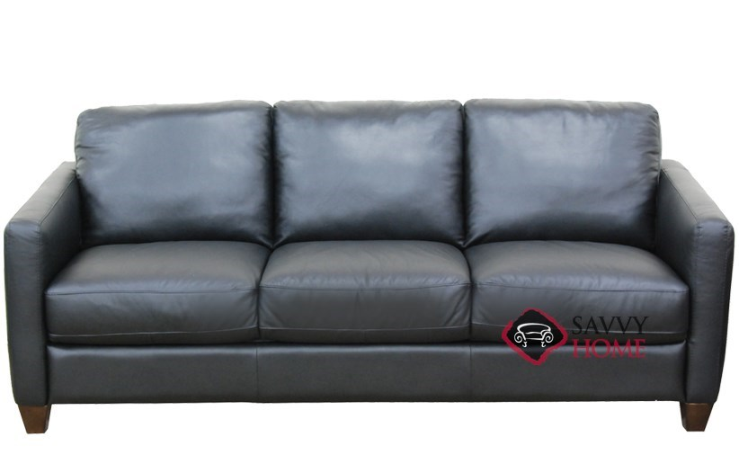 QuickShip Liri B591 Leather Queen in Denver Black by Natuzzi with