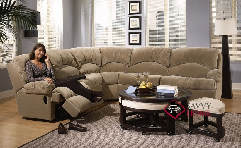 ... Milan True Sectional Sleeper Sofa With Recliner Room View ...
