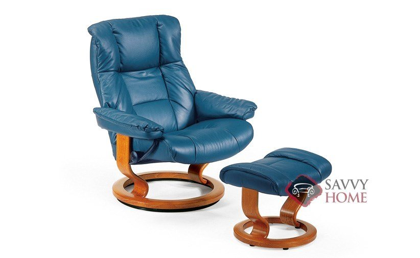 Mayfair Leather Recliner And Ottoman In Paloma Oxford Blue (formerly  Kensington)