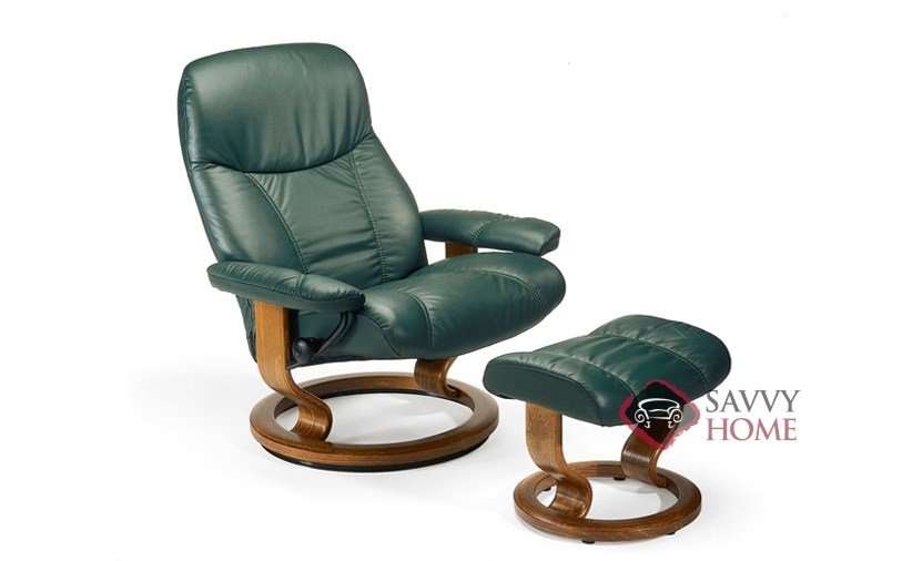Ordinaire Consul Leather Recliner And Ottoman In Batick Hunter Green (formerly  Ambassador)