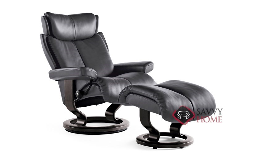 Magic Medium Leather Recliner And Ottoman In Paloma Rock