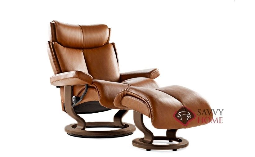 Magic Large Stressless Recliner and Ottoman in Royalin Tigereye with Brown base  sc 1 st  Savvy Home Store & Quick-Ship Magic Leather Chair in Royalin Tiger Eye by Stressless ... islam-shia.org
