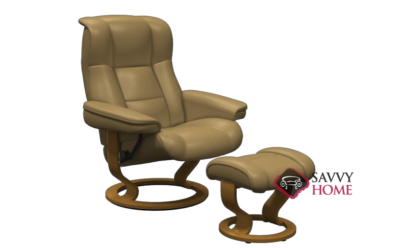 e877c78a894d1 ... Mayfair Leather Recliner and Ottoman in Paloma Taupe (formerly  Kensington) ...