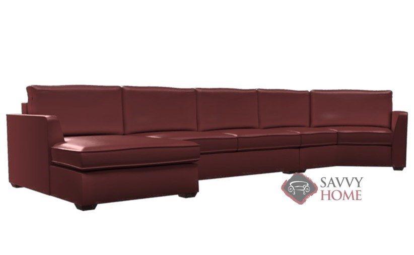 Strata Leather Long Angled Chaise Sectional With 2 Cushion Condo Queen  Sleeper By Lazar Industries