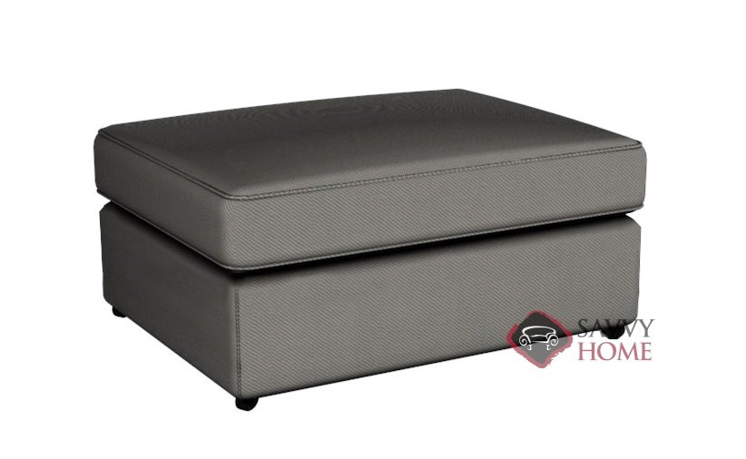 Boston Fabric Stationary Ottoman By Savvy Is Fully