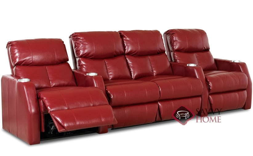 Atlantis 4-Seat Leather Reclining Home Theater Seating with Loveseat (Straight)  sc 1 st  Savvy Home Store & Atlantis Leather Sofa by Savvy is Fully Customizable by You ... islam-shia.org