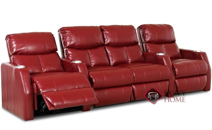 Atlantis 4-Seat Leather Reclining Home Theater Seating with Loveseat  (Straight) by Savvy--Power Upgrade Available
