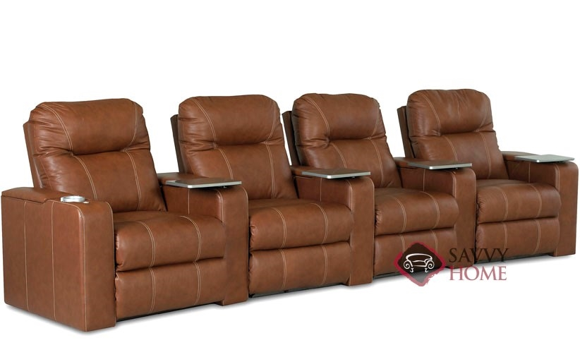 Pleasant Pleasantville 4 Seat Leather Reclining Home Theater Seating Curved By Savvy Power Upgrade Available Gmtry Best Dining Table And Chair Ideas Images Gmtryco