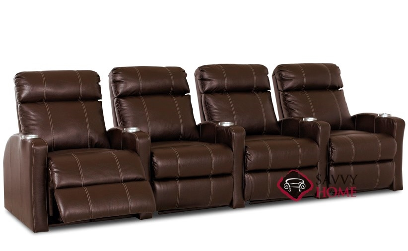 Smallville 4 Seat Leather Reclining Home Theater Seating Straight