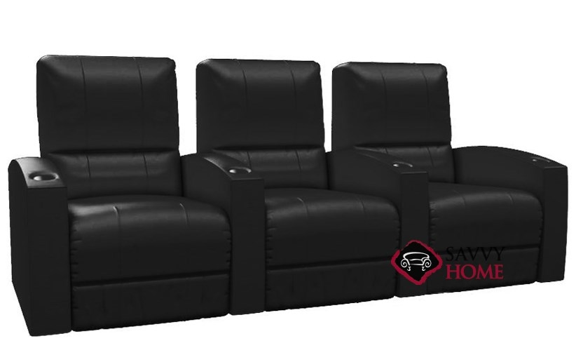 Pacifico 3 Seat Leather Reclining Home Theater Seating Straight