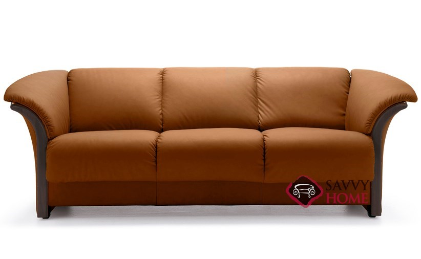 Charmant Manhattan Leather Sofa With Wood Trim By Stressless In Paloma Brandy