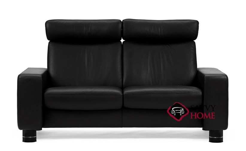 Quick Ship Taurus Leather Stationary Loveseat In Paloma