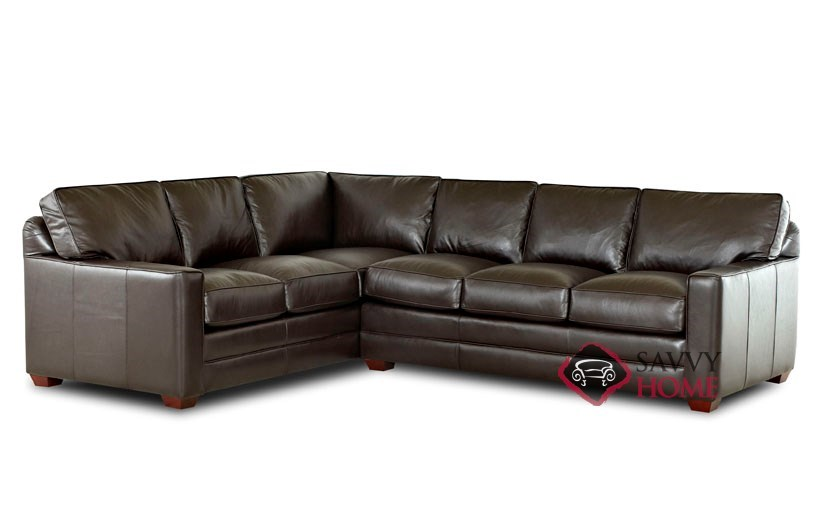 Palo Alto True Sectional Leather Full Sofa Bed by Savvy--Down-Blend Option  Available