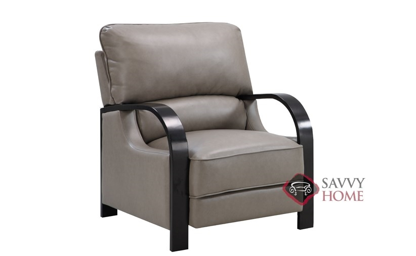 Calie Bonded Light Grey Leather Push Back Recliner By Emerald Home  Furnishings