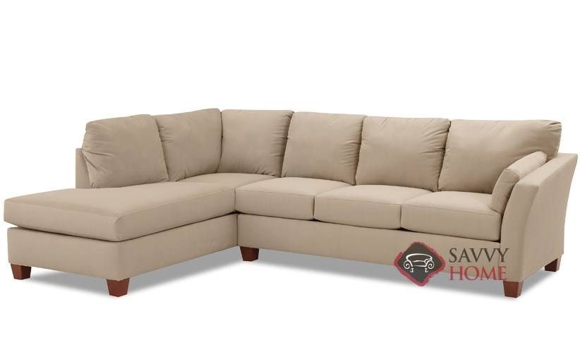 Sienna Chaise Sectional Sleeper Sofa In Microsuede Khaki