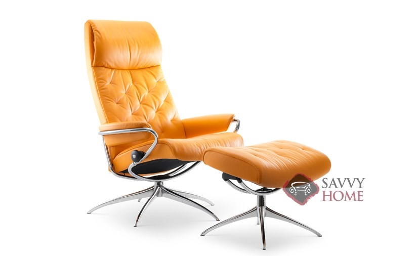 Metro High-Back Reclining Chair and Ottoman by Stressless  sc 1 st  Savvy Home Store & Metro Leather Reclining Chair by Stressless is Fully Customizable by ...
