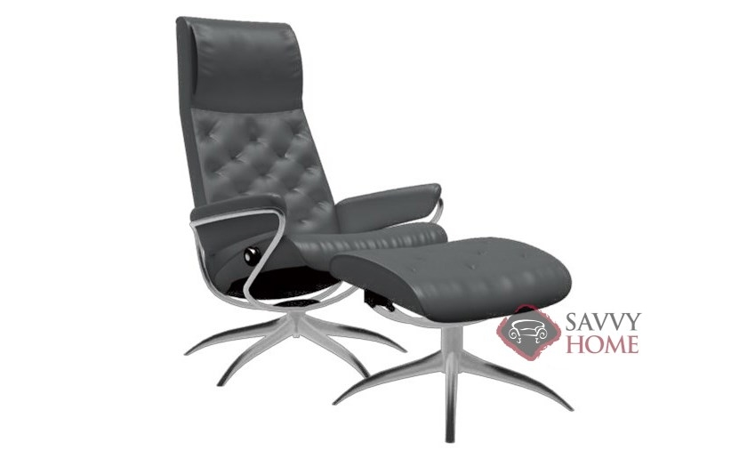 ... Metro High-Back Reclining Chair and Ottoman by Stressless in Paloma Black ...  sc 1 st  Savvy Home Store & Metro Leather Reclining Chair by Stressless is Fully Customizable by ...
