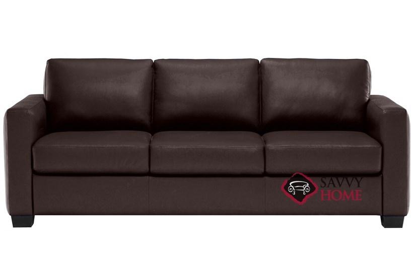 Roya B735 008 Queen Leather Sleeper Sofa By Natuzzi Editions In Denver Dark