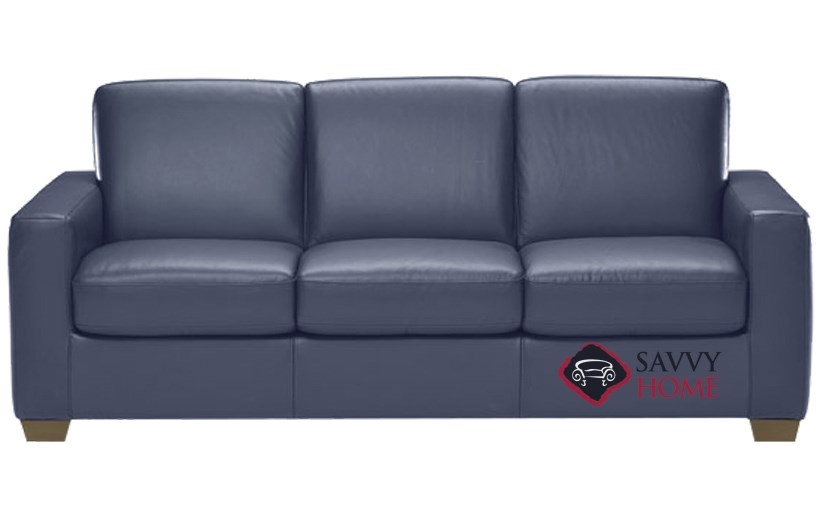quick ship rubicon b534 leather sleeper sofas queen in le mans navy blue by natuzzi with fast. Black Bedroom Furniture Sets. Home Design Ideas