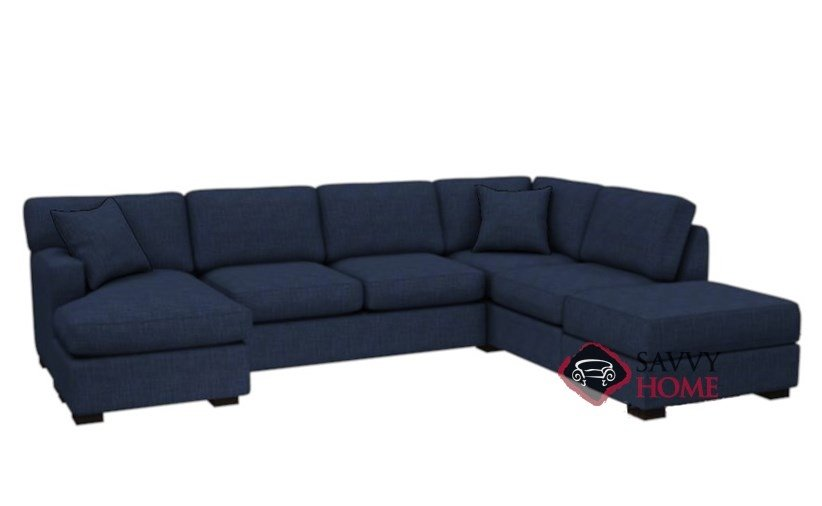The 146 Dual Chaise Sectional Queen Sleeper Sofa With Storage In Bennett Indigo