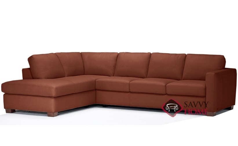 Quick-Ship Roya (B735) Leather Sleeper Sofas Chaise Sectional in ...