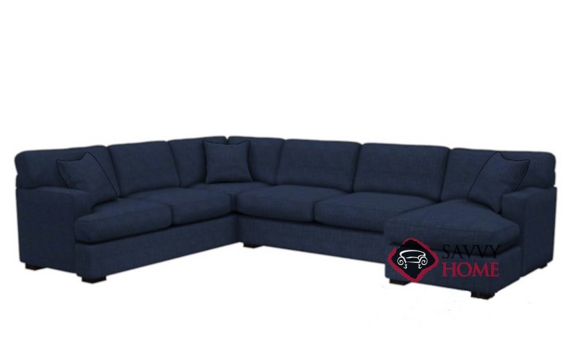 The 146 U Shape True Sectional Queen Sleeper Sofa In Bennett Indigo
