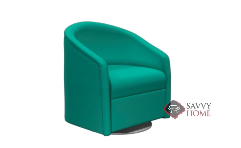 Classic Barrel Leather Stationary Chair By Lazar
