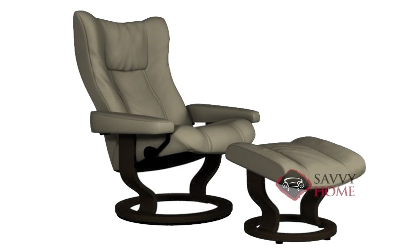 quick ship wing leather reclining chair in paloma stone by