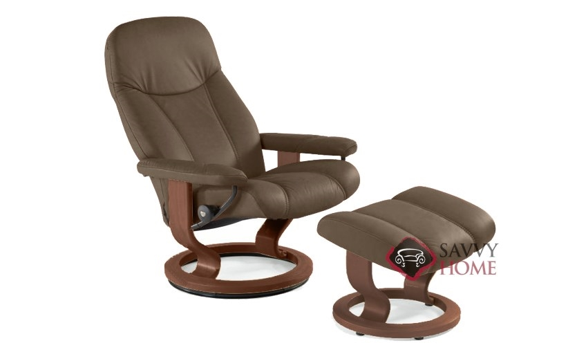 Consul Stressless Recliner And Ottoman In Batick Brown With Base
