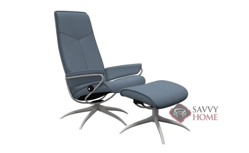 ... City High Back Reclining Chair And Ottoman By Stressless In Paloma  Sparrow ...