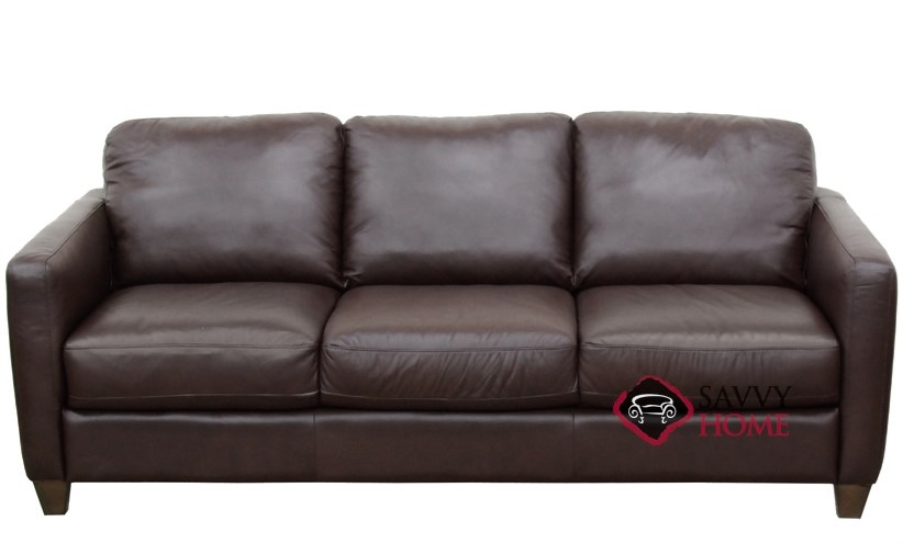 B591 Queen Leather Sleeper Pictured In Phoenix Brown