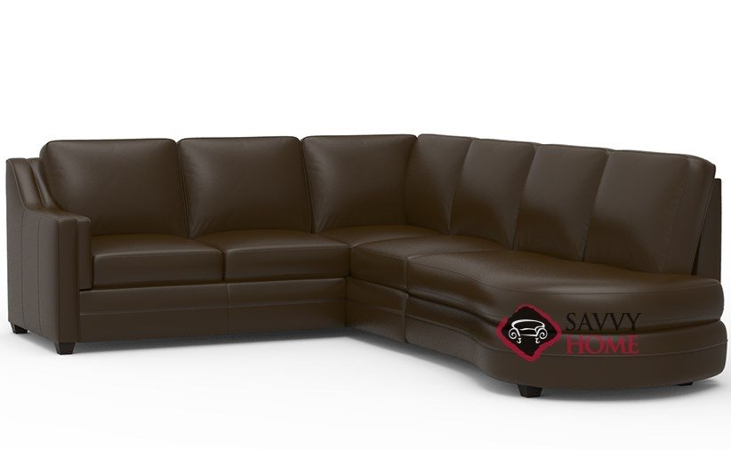 Corissa Leather Chaise Sectional Sofa With Angled Per By Palliser