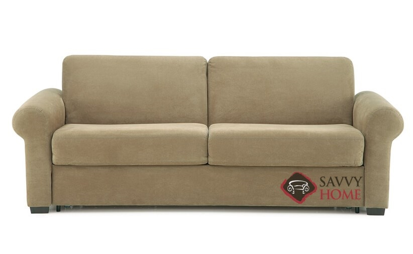 Sleepover My Comfort 2 Cushion Queen Sleeper Sofa In Echosuede Cuccino