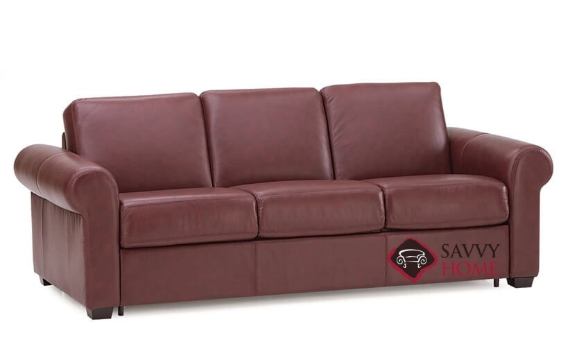 Sleepover My Comfort 3 Cushion Queen Leather Sleeper Sofa In Carnival Claret