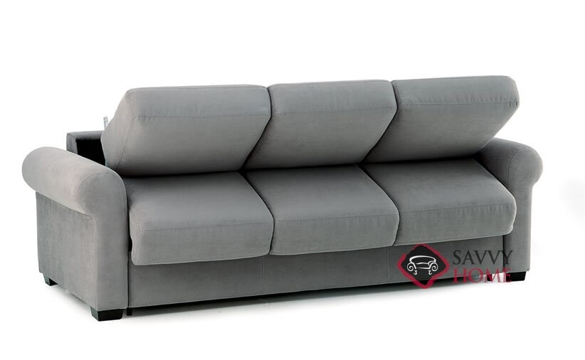 ... Sleepover My Comfort 3 Cushion Queen Sleeper Sofa By Palliser In  Echosuede Charcoal Opening ...