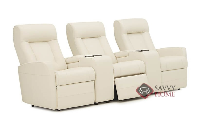 Banff II My Comfort Dual Reclining Top-Grain Leather Sofa with 2 Consoles  by Palliser--Power Upgrade Available