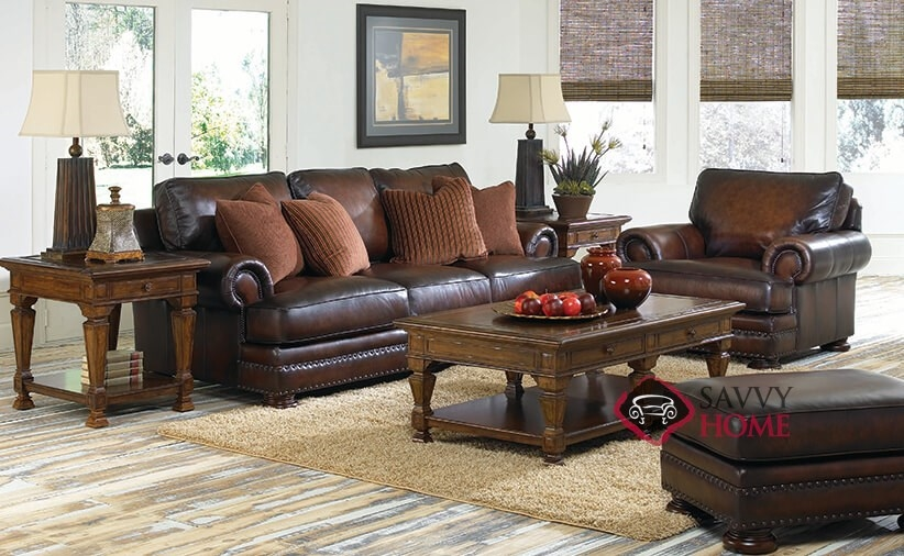 Incroyable ... Foster Leather Sofa With Down Blend Cushions Roomshot ...