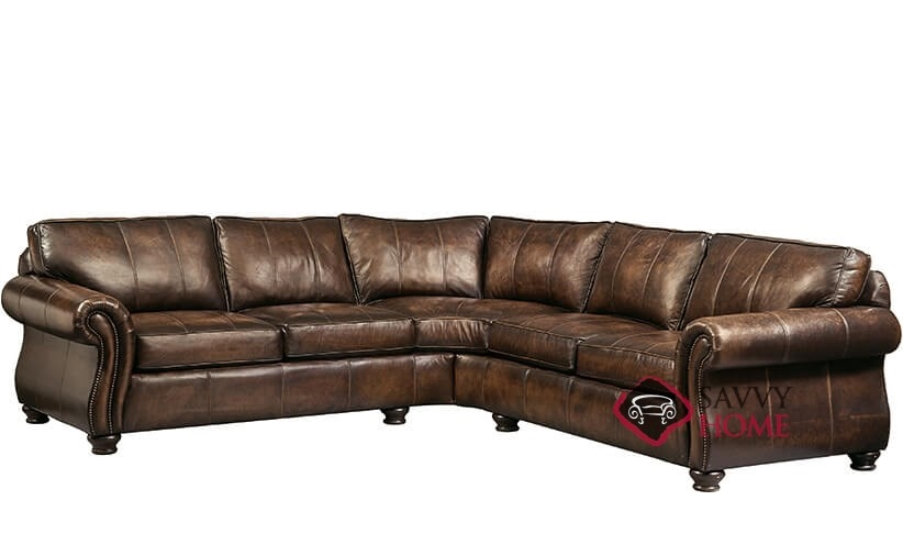 Van Gogh Leather True Sectional With Down Blend Cushions By Bernhardt In  203 020