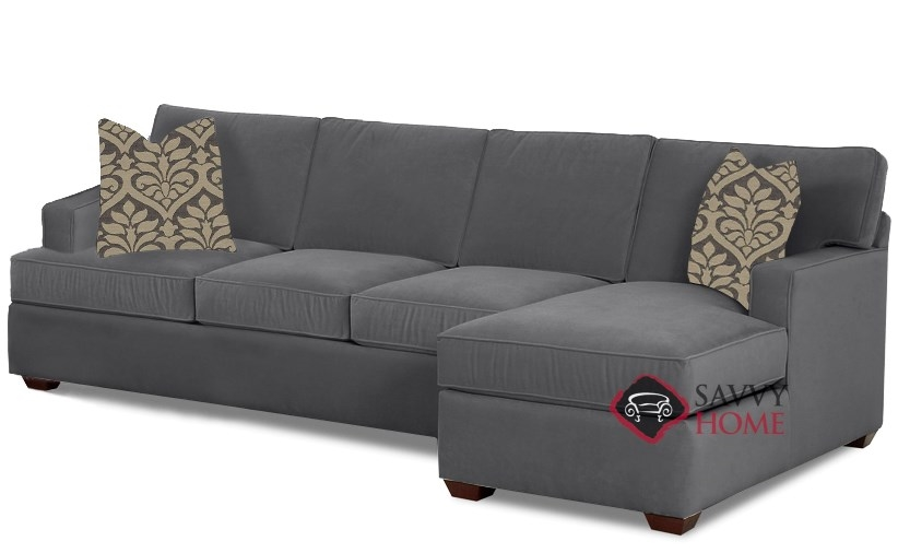 Quick-Ship Waltham Fabric Sleeper Sofas Chaise Sectional in Geo Raven by  Savvy with Fast Shipping | SavvyHomeStore.com