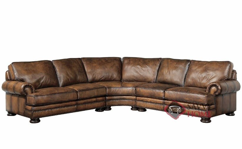 Superbe Foster Leather Sofa With Down Blend Cushions By Bernhardt In 207 202 ...