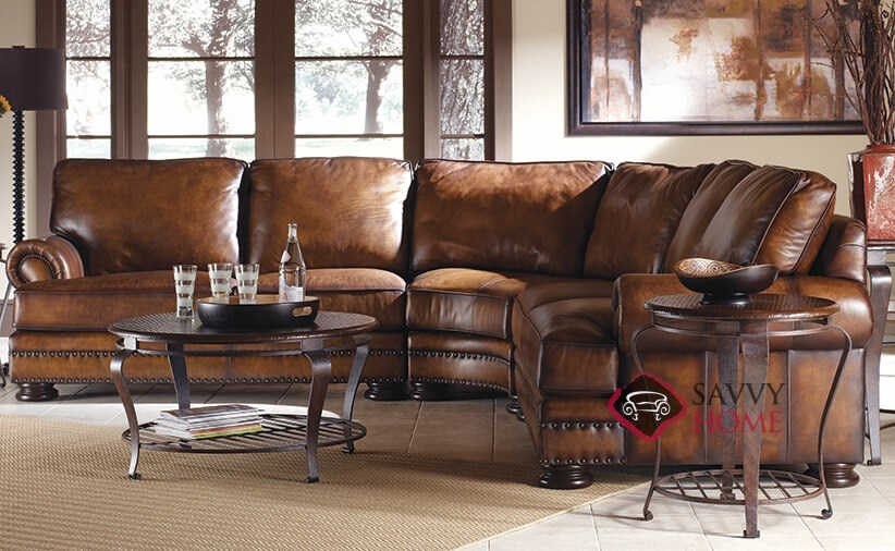 ... Foster Leather True Sectional With Down Blend Cushions By Bernhardt  Roomshot ...