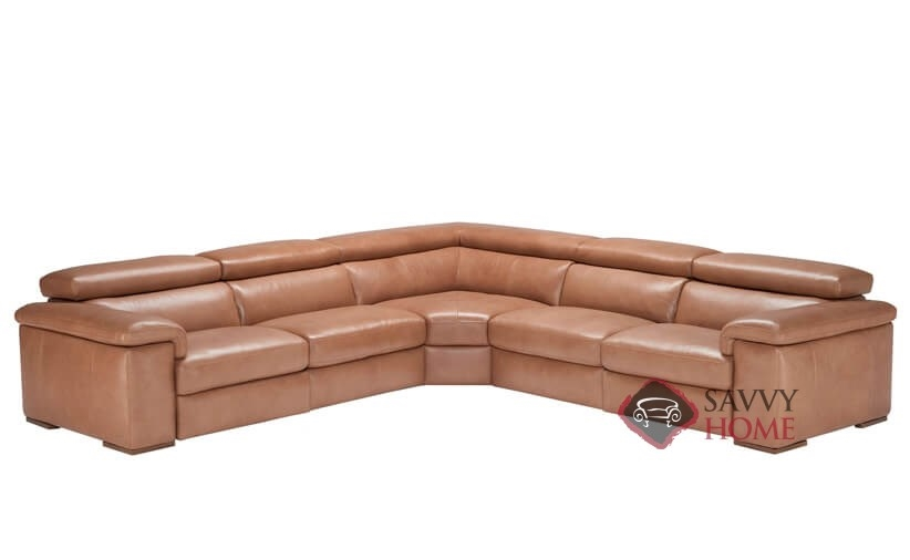 Arda Leather Stationary True Sectional By Natuzzi Is Fully