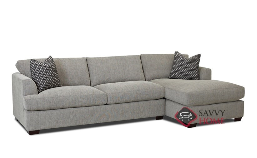 Berkeley Chaise Sectional Queen Sofa Bed by Savvy with Down-Blend Cushions