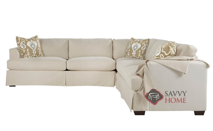 Berkeley True Sectional Queen Sofa Bed with Slipcover by Savvy with  Down-Blend Cushions