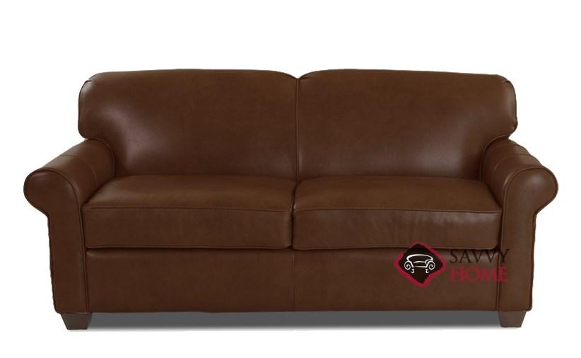 Calgary Leather Full Sleeper Sofa In Abilene Chestnut